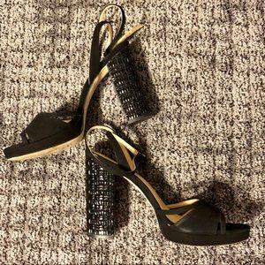 Michael Kors Black Ankle Strap Jewel Studded Heels
